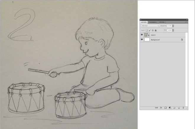 1. sketch drawing boy playing the drums lalelilolu studios