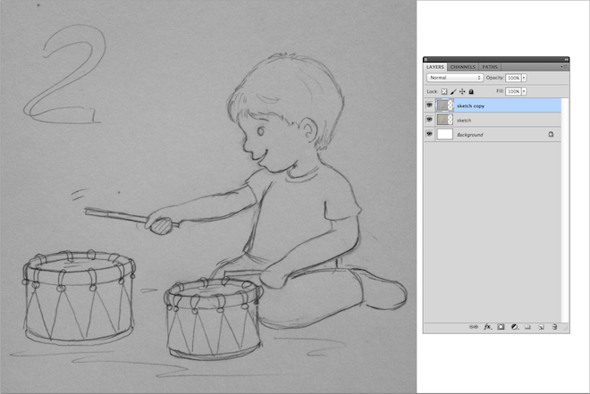 2. sketch drawing boy playing the drums lalelilolu studios