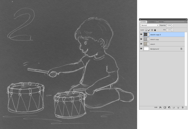 3. sketch drawing boy playing the drums lalelilolu studios