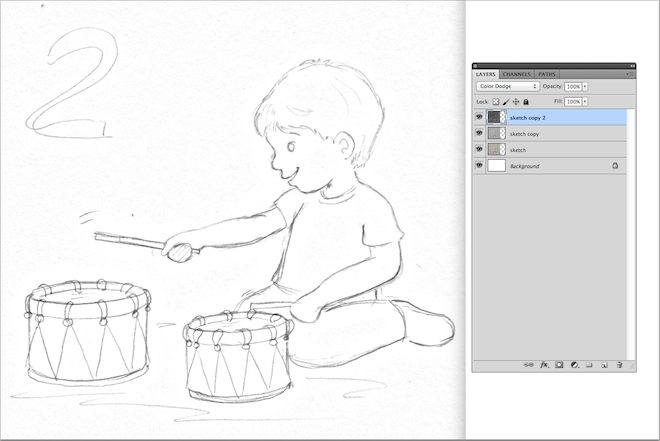 5. sketch drawing boy playing the drums lalelilolu studios