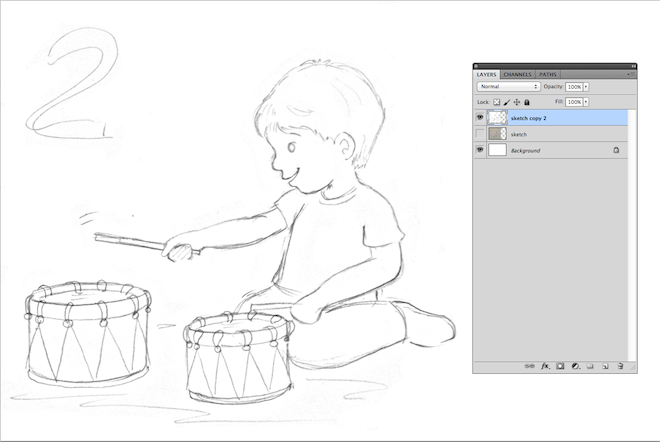 6. sketch drawing boy playing the drums lalelilolu studios
