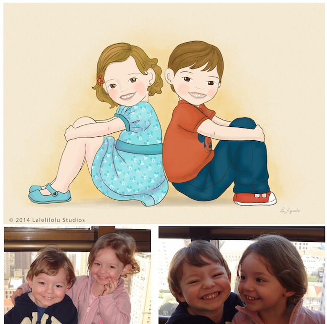 illustration twins boy and girl